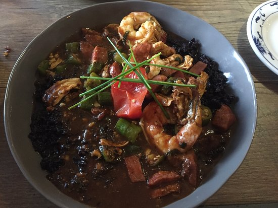 Cottonwood, AZ: Gumbo with black sticky rice instead of cheddar mash