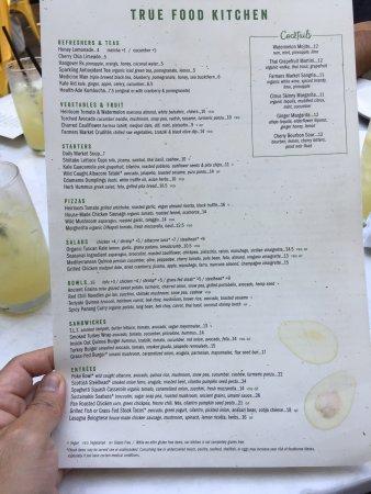 menu - Picture of True Food Kitchen, Pasadena - TripAdvisor