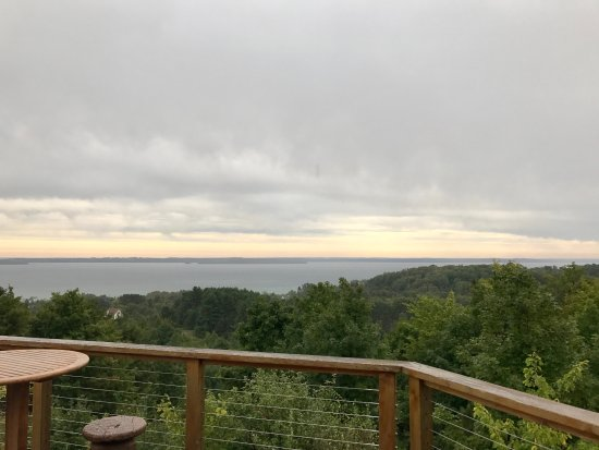 Suttons Bay, MI: View from the patio - even beautiful on a rainy day