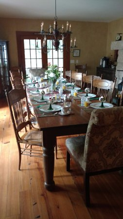 Red Wing, MN: Black walnut dining table set for breakfast