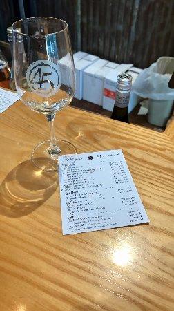 45 North Vineyard & Winery: Tasting menu & glass