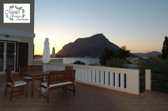 Myrties Boutique Apartments: Nera Apartment - Veranda Panoramic View of the Bay of Myrties and Telendos Isle.