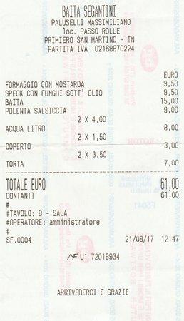 Siror, Италия: ..il conto
