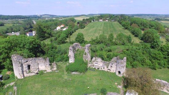 Blamont, فرنسا: Château médiéval de Blâmont - Vue sur le donjon et l'emplacement du parc Renaissance