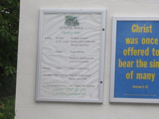 Gospel Hall: notice board