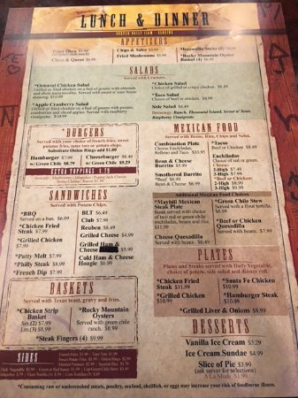 Mayhill, Nuevo Mexico: Lunch and dinner menu