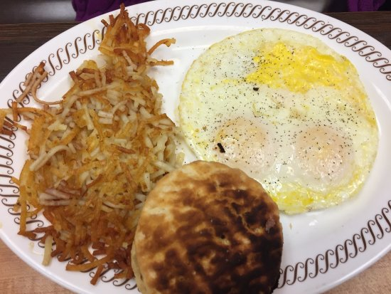 Alachua, FL: eggs, hashbrowns, very dark biscuit