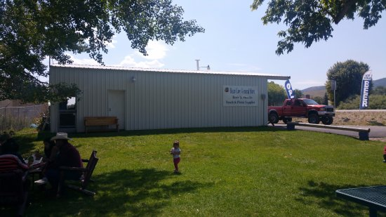 Saint Charles, ID: large gravel parking lot to the north for trucks and boat trailers to park