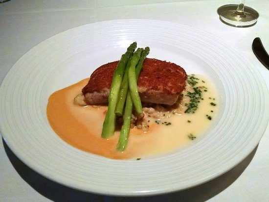 """Roy's Waikiki Beach: Macadamia Nut Crusted Monchong """"Kona Cold"""" Lobster Sauce - tender, flakey and delicious."""