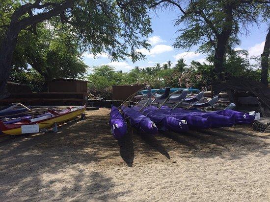 Waikoloa, Hawaje: Outrigger canoe clubs race out of ABay