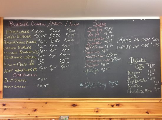 Elk Lake Chip Stand Posted Menu, Elk Lake ON