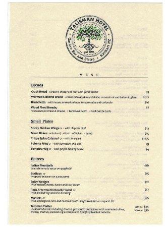 Katikati, Selandia Baru: menu