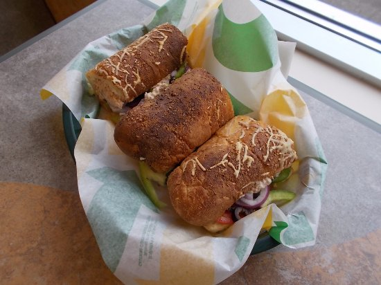 Subway Sandwich Shop, Turtle Lake, Wisconsin. Tuna foot-long.