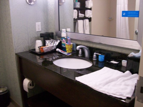 Anderson, SC: The Bathroom Sink Vanity and Counter, and under the Sink Shelf