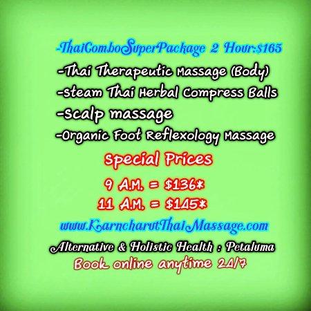 Karncharut Thai Massage: Pro Thai Combo Super Package 2hours/$145* at 11.00 AM Book online 24/7 www.KarncharutThaiMassage