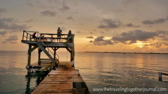 Utila, Honduras: sunset at the UDC boat dock