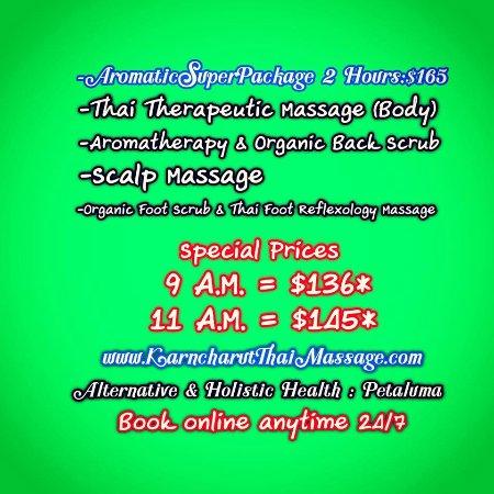 Karncharut Thai Massage: Aromatic Super Package 2hours Value$165 #Petaluma Book online 24/7 www.KarncharutThaiMassage.com