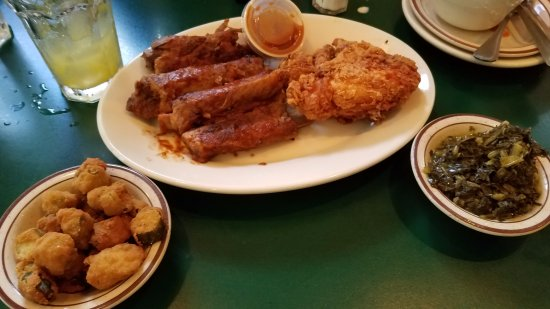 Mama Dip's: Ribs and Chicken with sides of Fried Okra and Greens