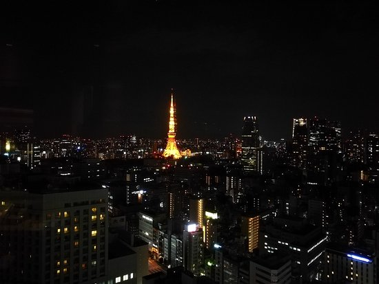 Park Hotel Tokyo: view of tokyo tower from reception