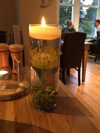 Uplands Garden Restaurant & Hotel: Protea in the candles