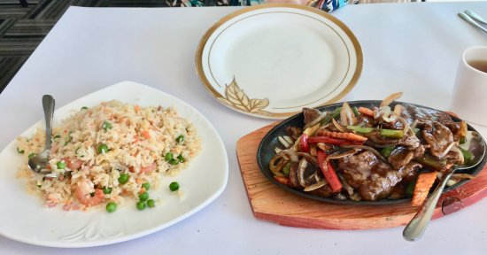 West Lakes, ออสเตรเลีย: Mongolian Lamb, Fried rice beautiful plate