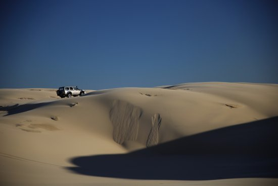 Port Stephens, Australia: This was the main area of the Stockton Sand Dunes system and that's Bruce's 4WD.