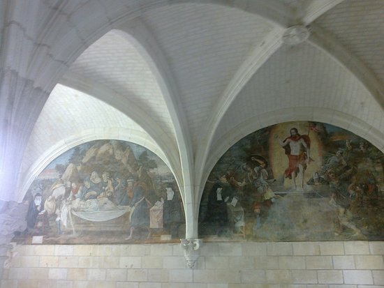 Fontevraud-l'Abbaye, Γαλλία: Malereien im Kapitelsaal, Abendmahl und Heiliger Geist