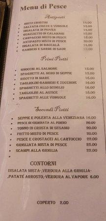 Osteria Al Bacco : Menu