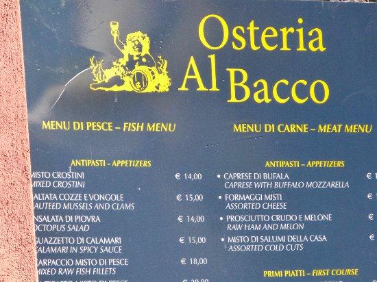 Osteria Al Bacco : Sign outside