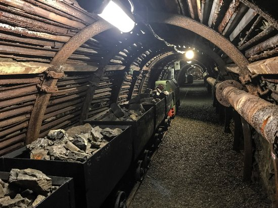 Blegny, Belgium: An actual carriage system in a mineshaft