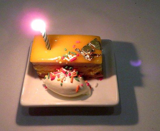 Alexander's Steakhouse: Complimentary birthday cake