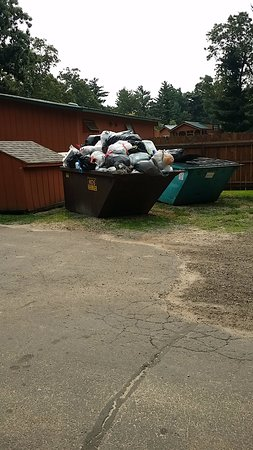 Warrens, WI: No one here recycles. The dumpster on the left is for trash. The one on the right is for recycli