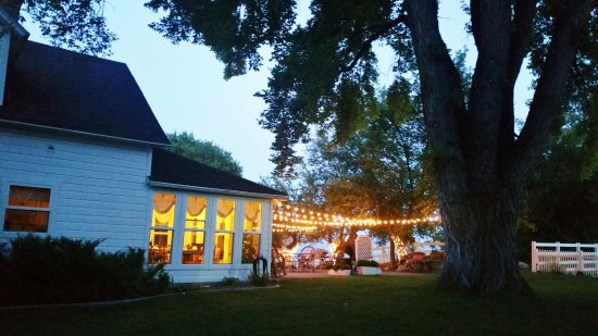 Fish Haven, ID: Evening lights on the southern patio for a party or event