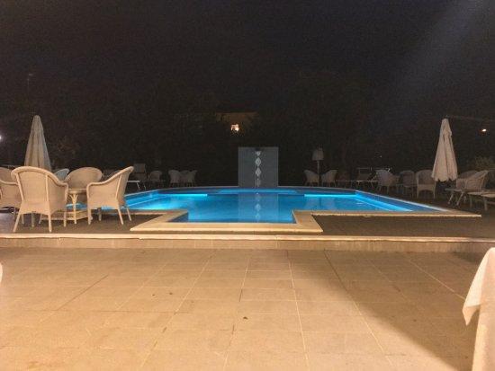 Relais Villa Roncuzzi: Una vista serale della piscina dal mio tavolo al ristorante