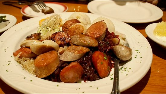 Cafe Mozart & Bar : Sausage Sampler with Potato Salad and Sauerkraut