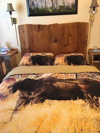 Kempt, แคนาดา: Pretty much the limit to the rooms width. That's a moose on the bedspread.
