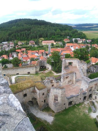 Susice, Czech Republic: Pohled z věže na zbytky paláce a vesničku pod ním