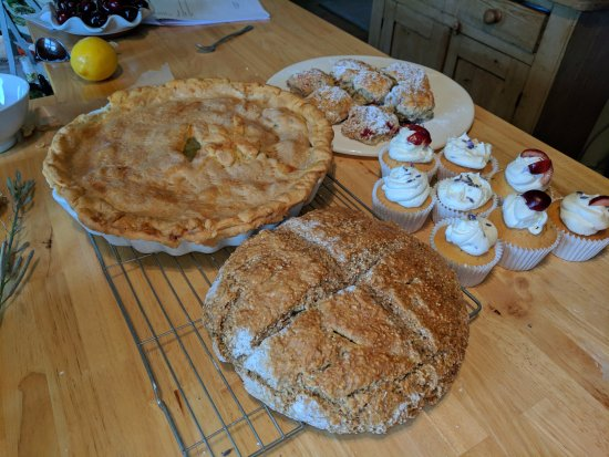 Oranmore, Ireland: apple pie, brown bread, lavender cupcakes and rasberry scones