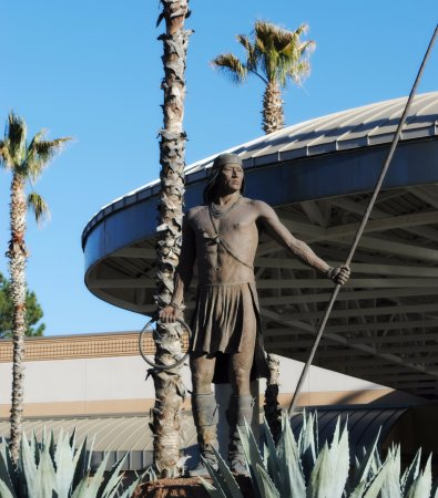 San Carlos, AZ: Hoop Dancer statue at casino entrance.
