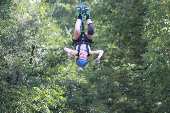 Foxfire Mountain Adventures: zipping upside down