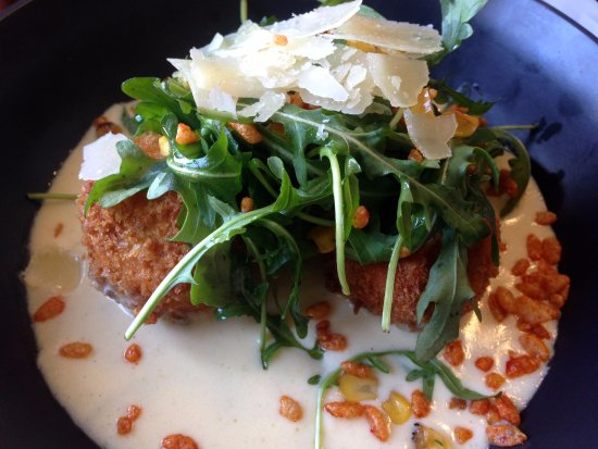 Burns Beach, Australia: Arancini of Sweet Corn & Parmesan, Fromagé Fondue, Blackened Corn, Gremolata $14.50