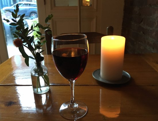 Belfast, ME: Dinner Table with Glass of Wine