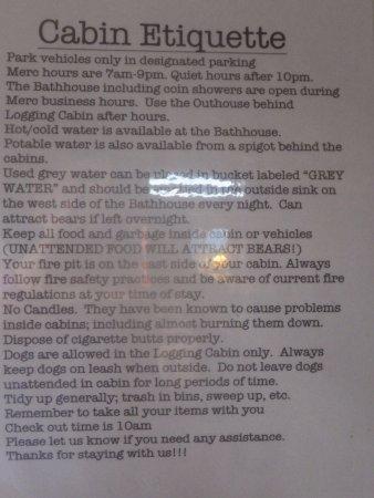 Polebridge, MT: Cabin Etiquette