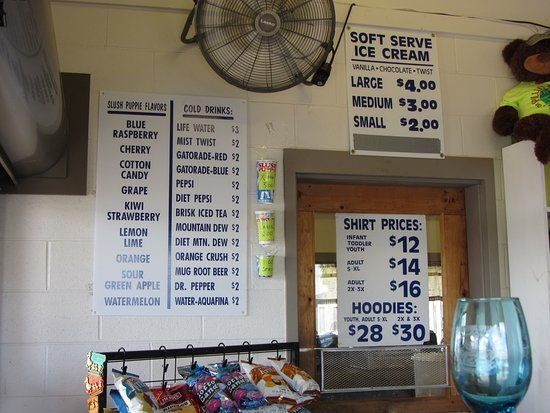 Linesville, Πενσυλβάνια: Pymatuning spillway food and gift pricing