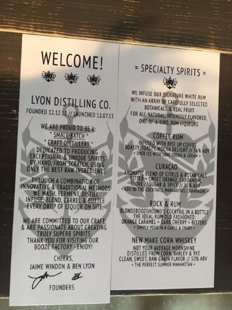 St. Michaels, MD: Lyon Distilling Menu