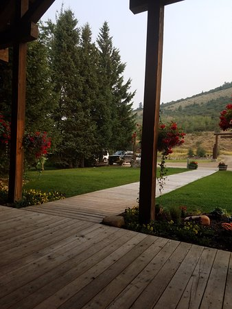 Victor, ID: View from rocking chairs on front porch of the lodge.