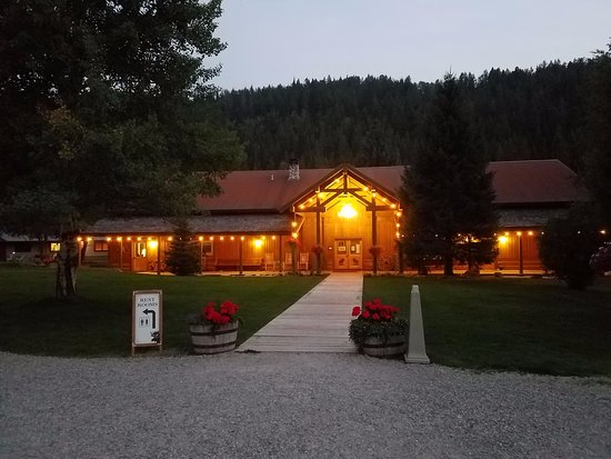 Victor, ID: Front of lodge in the evening