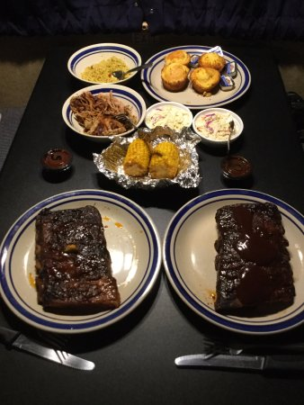 Sticky Fingers: BBQ Pork ribs and sauce, pulled pork, BBQ corn, coleslaw, cornbread muffins