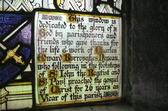 Lenham, UK: window dedication to vicar and cricketer charles nepean