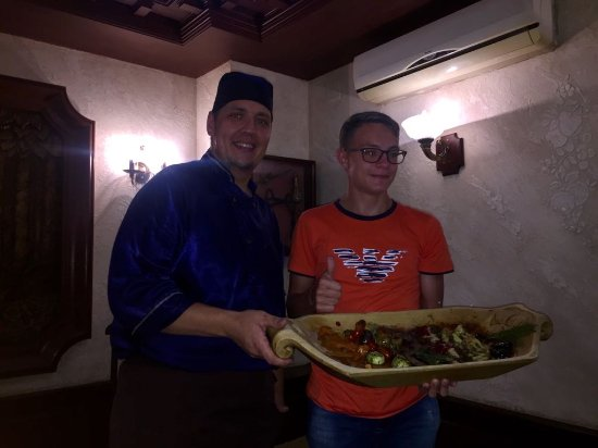 Охотников: Me with the Chef of the restaurant holding up my favourite dish
